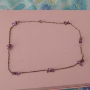 Metal Choker with Purple Crystals